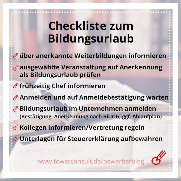 Checkliste zum Bildungsurlaub