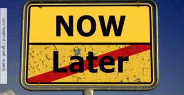 Prokrastination-Schild