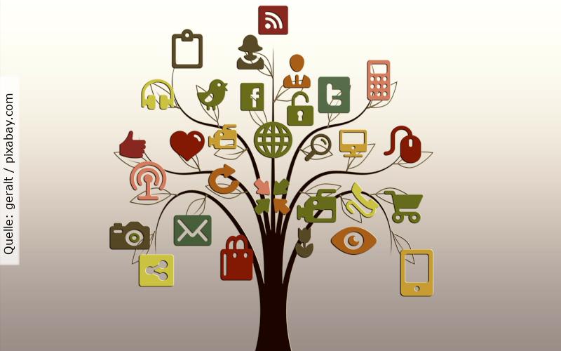 Social Media Recruiting - Baum mit Icons